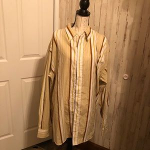 Ric premium tan & yellow stripped button up LS 3x